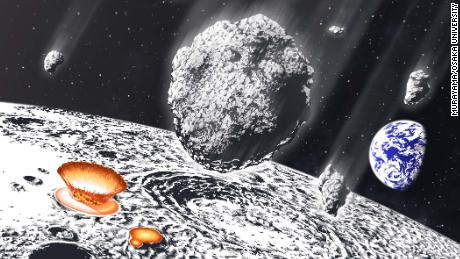 This artist's illustration shows an asteroid shower on the moon and Earth.