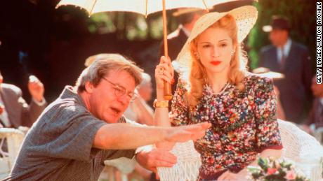 "Parker directs Madonna on the set of ""Evita"" in 1997."