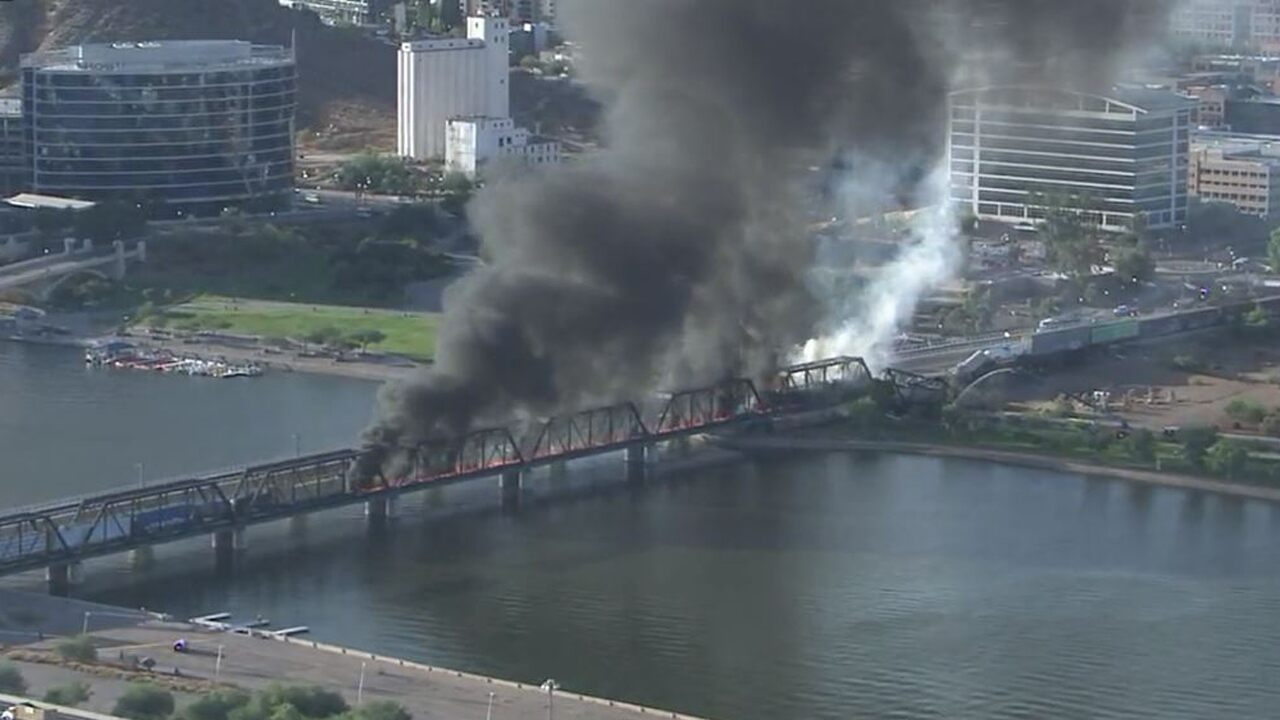 Arizona bridge burns, partly collapses right after coach derailment close to Tempe City Lake
