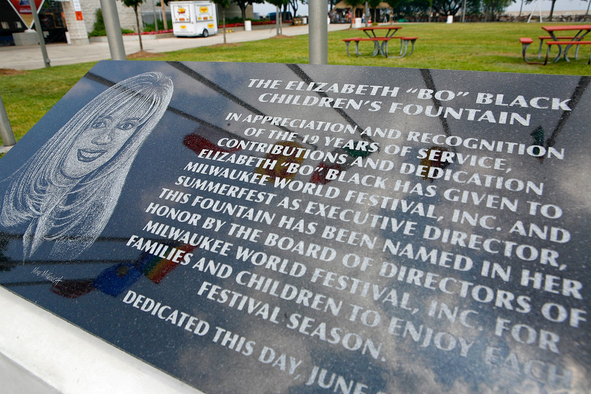 """The granite plaque dedicated on the Summerfest grounds is shown June 26, 2007. The Elizabeth """"Bo"""" Black Children's fountain honors Black for her 19 years as Summerfest director."""