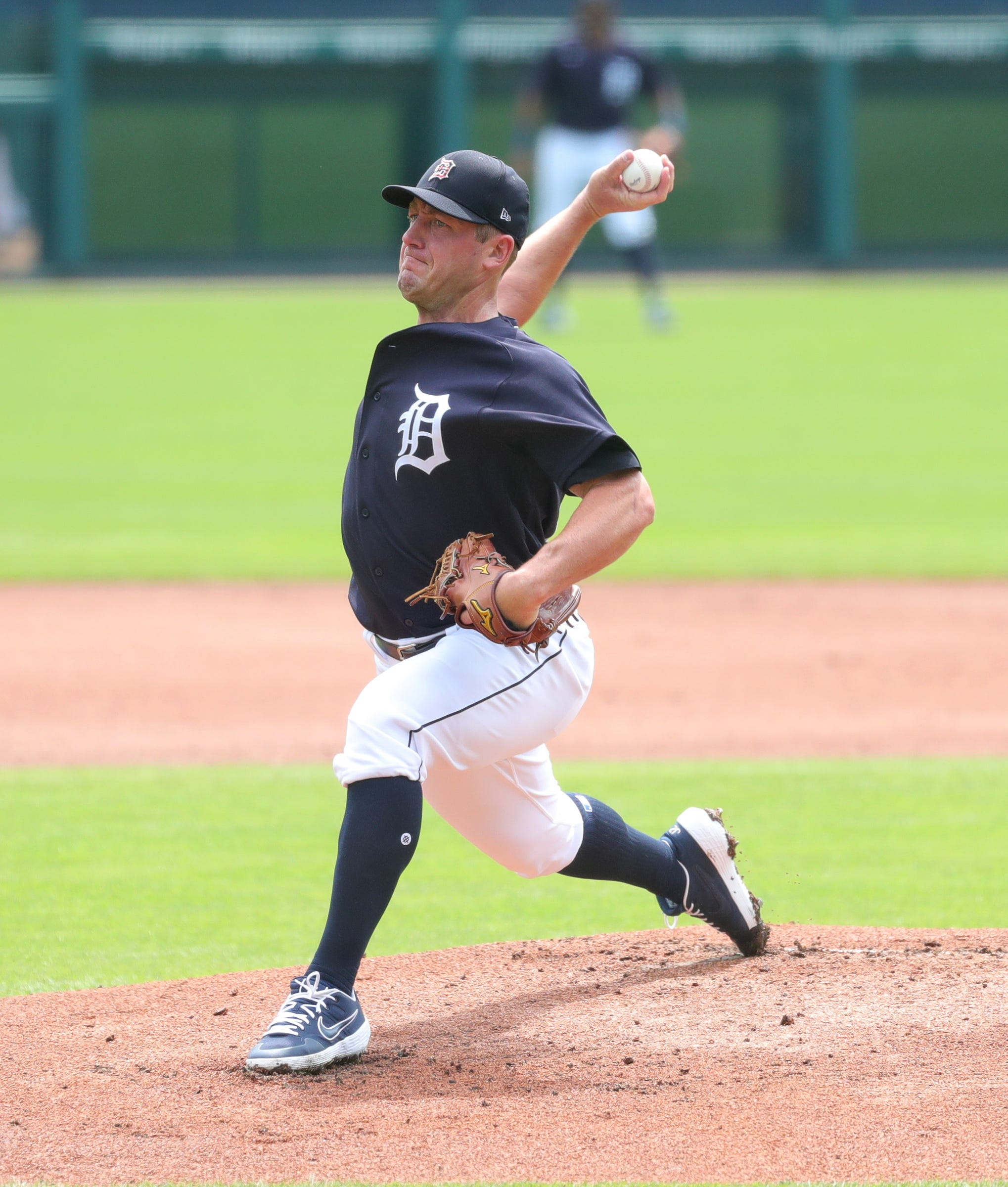 Detroit Tigers' Jordan Zimmermann pitches during an intrasquad scrimmage at Comerica Park, Sunday, July 12, 2020.