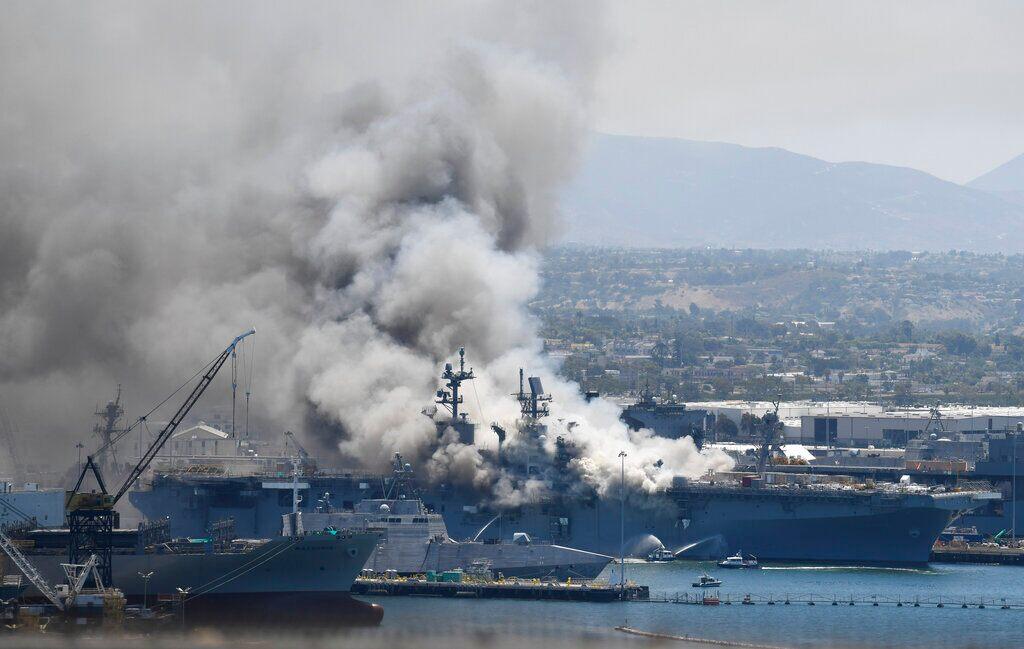 Fire still burns on USS Bonhomme Richard, cause unknown