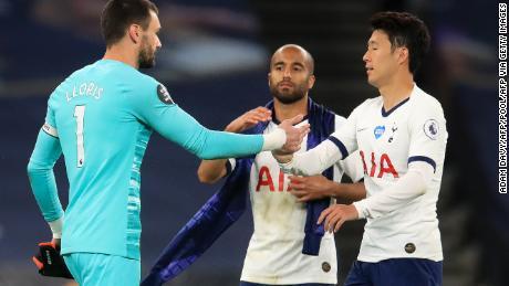Tottenham goalkeeper Hugo Lloris hugged striker Son Heung-Min after the game.