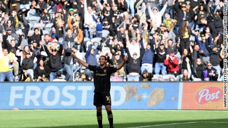 Carlos Vela of Los Angeles FC celebrated with his goal against Inter Miami CF.