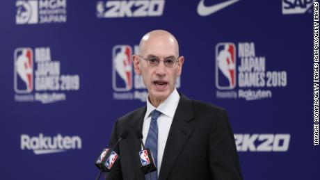 Silver speaks at a news conference ahead of the preseason game between the Houston Rockets and Toronto Raptors in Saitama, Japan.