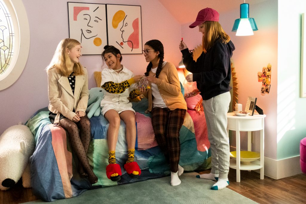 The Baby-Sitters Club: (L to R) Shay Rudolph as Stacey Mcgill, Momona Tamada as Claudia Kishi, Malia Baker as Mary Anne Spier and Sophie Grace as Kristy Thomas