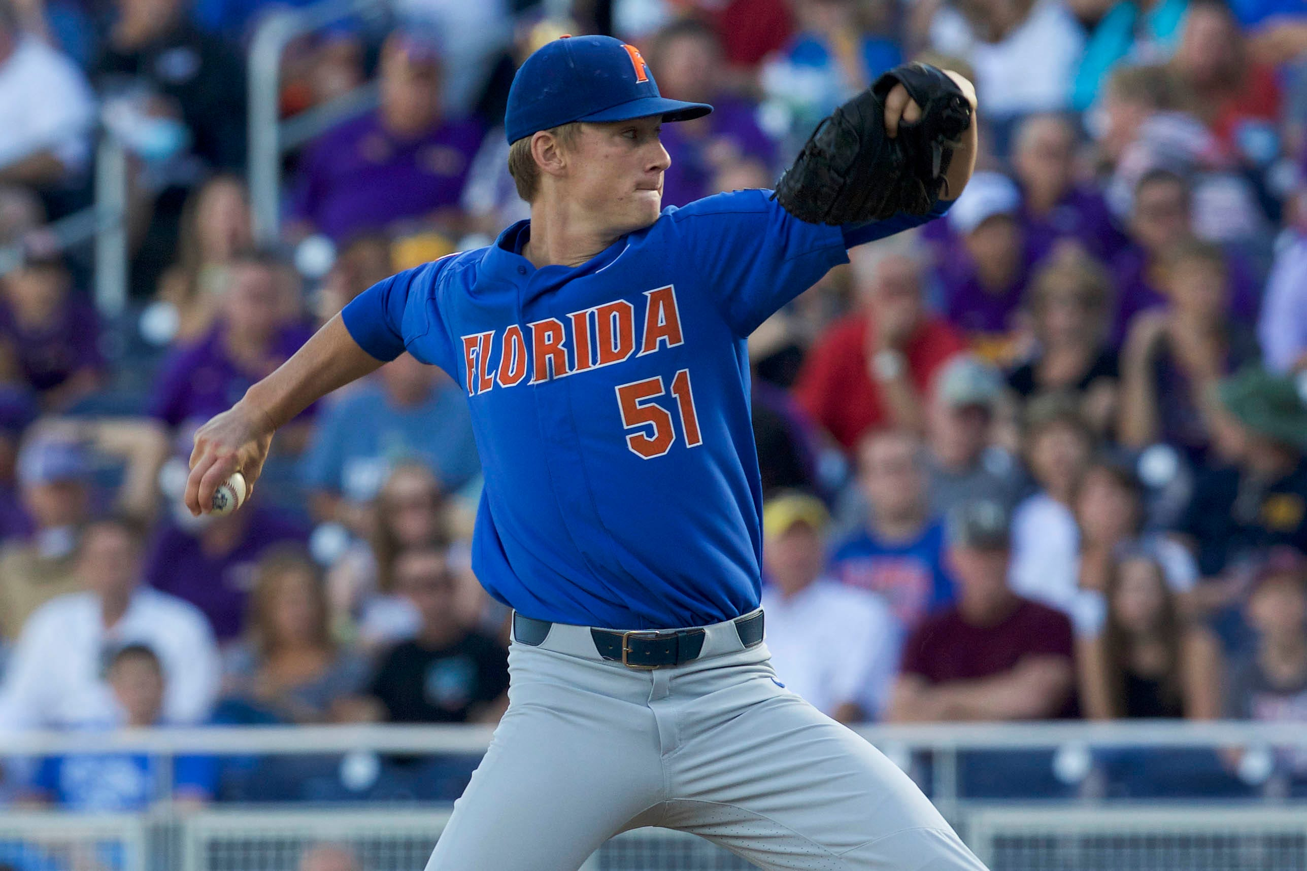 Jun 26, 2017; Omaha, NE, USA; Florida Gators pitcher Brady Singer (51) throws against the LSU Tigers in the first inning in game one of the championship series of the 2017 College World Series at TD Ameritrade Park Omaha. Mandatory Credit: Bruce Thorson-USA TODAY Sports ORG XMIT: USATSI-360331 ORIG FILE ID:  20170626_sal_st5_118.JPG