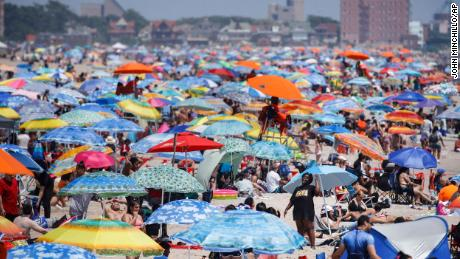 The beach on Coney Island in New York City was visited during the holiday weekend.