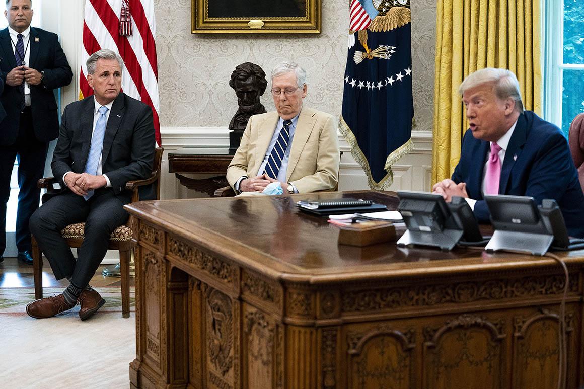 Trump and GOP split on payroll tax cut, testing as Covid talks kick off