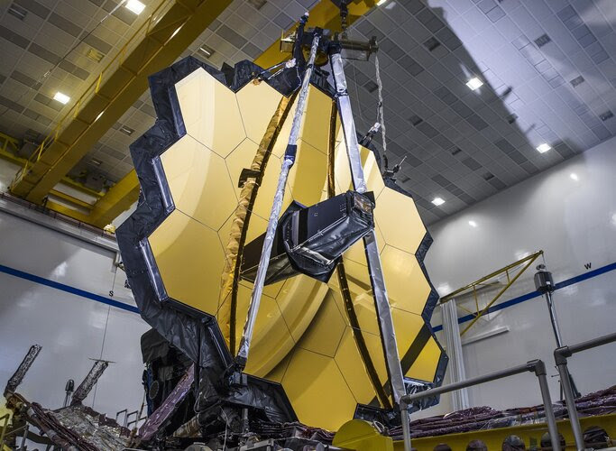 A good-sized spacecraft under construction.