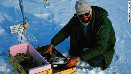 Mark Serreze conducting research on the St. Patrick Bay ice caps in 1982.