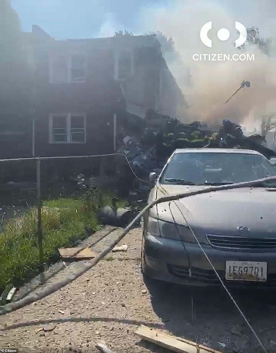 Local firefighters were called to the area of the 6500 block of Reisterstown Road Monday morning after several houses exploded