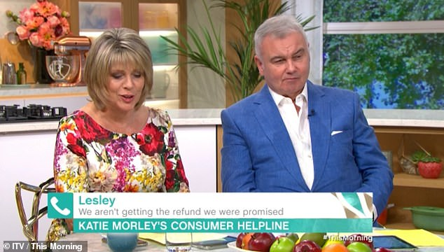 Fuming: Ruth swiftly stepping in and apologising to viewers for the early-morning slip.Ruth's co-host and husband Eamonn Holmes looked extremely unimpressed at the error
