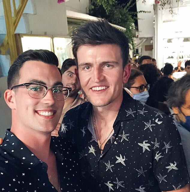 Maguire (right, pictured in Mykonos) did not choose a quiet place to spend his holiday