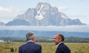 Federal Reserve Chairman Jerome Powell, left, and former Bank of England Governor Mark Carney at Jackson Hole - in a pre-pandemic year.