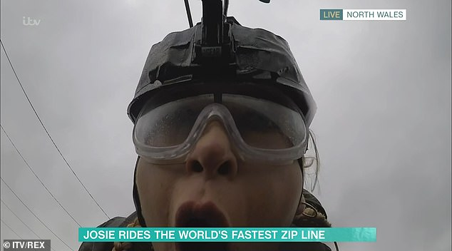 Ordeal: Despite her reservations, Josie was then catapulted down the zip-wire at speed, and she was seen screaming the whole way down the mountain