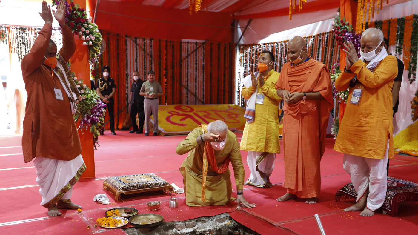 At Web-site Of Razed Mosque, India's Modi Lays Basis For Controversial Hindu Temple : NPR