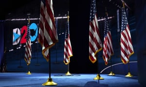 Flags are placed in the venue where the Democratic vice-presidential candidate Senator Kamala Harris will speak on third day of the Democratic national convention in Wilmington, Delaware.