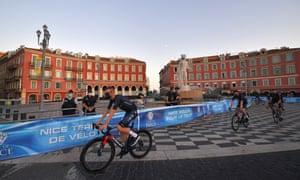 Dylan Van Baarle of the Dutch team INEOS Grenadiers/Statue of Apollo rides in Nice.