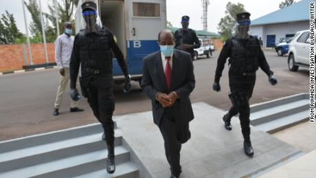 Paul Rusesabagina pictured in Rwanda after his arrest.
