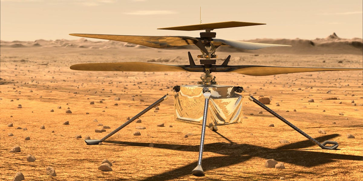 Initially-at any time house helicopter is en route to Mars aboard NASA's rover