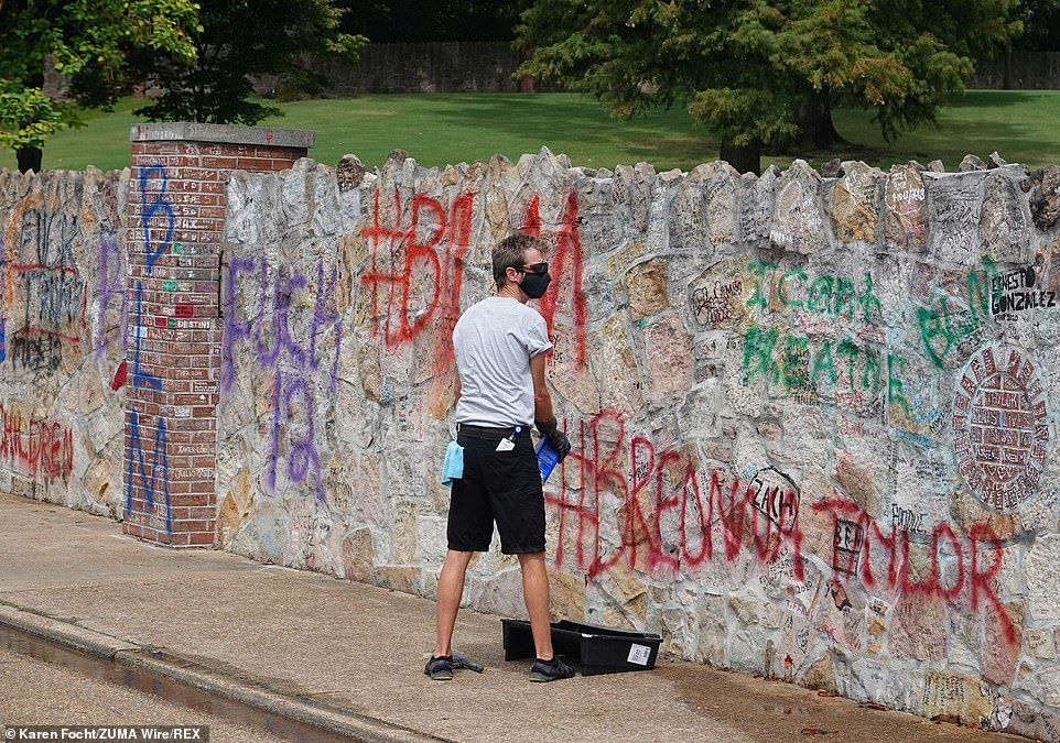 The spray-painted letters have covered thousands of expressions of appreciation for Elvis written by fans who have visited the king's house since it became an official museum in 1982.
