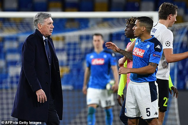 Everton coach Carlo Ancelotti (left) worked with Alan (right) when he was coach of Napoli