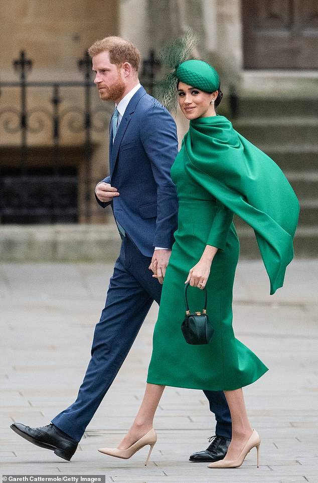 Rumors have spread that Harry and Meghan are seeking a foothold in Hollywood since the couple announced their plans to quit their senior royals and seek financial independence and move to North America in January. Pictured, attending Commonwealth Day Service 2020 on 09 March 2020 in London