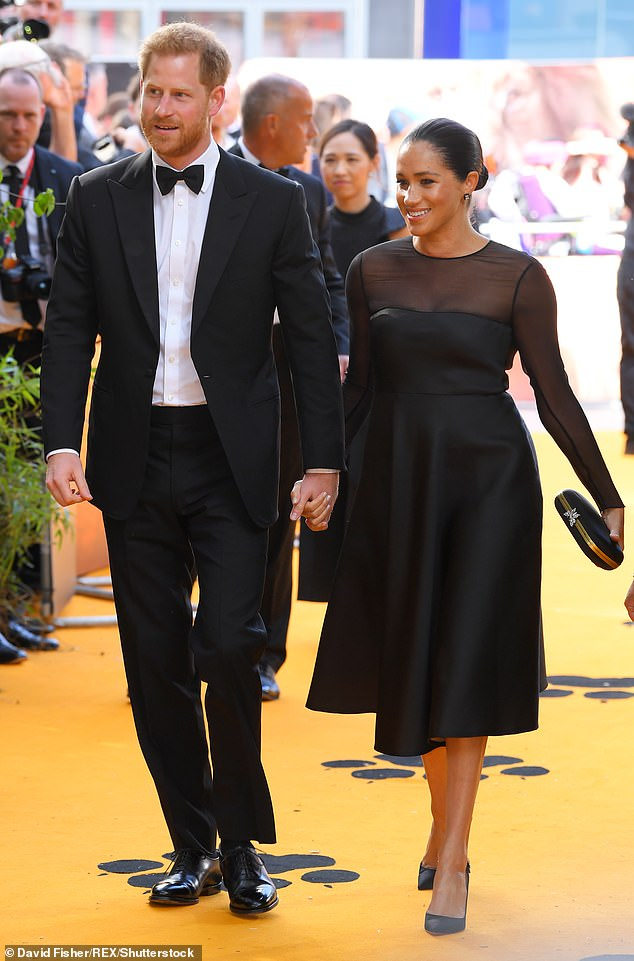 Prince Harry and Duchess of Sussex attend the London premiere of The Lion King, July 2019