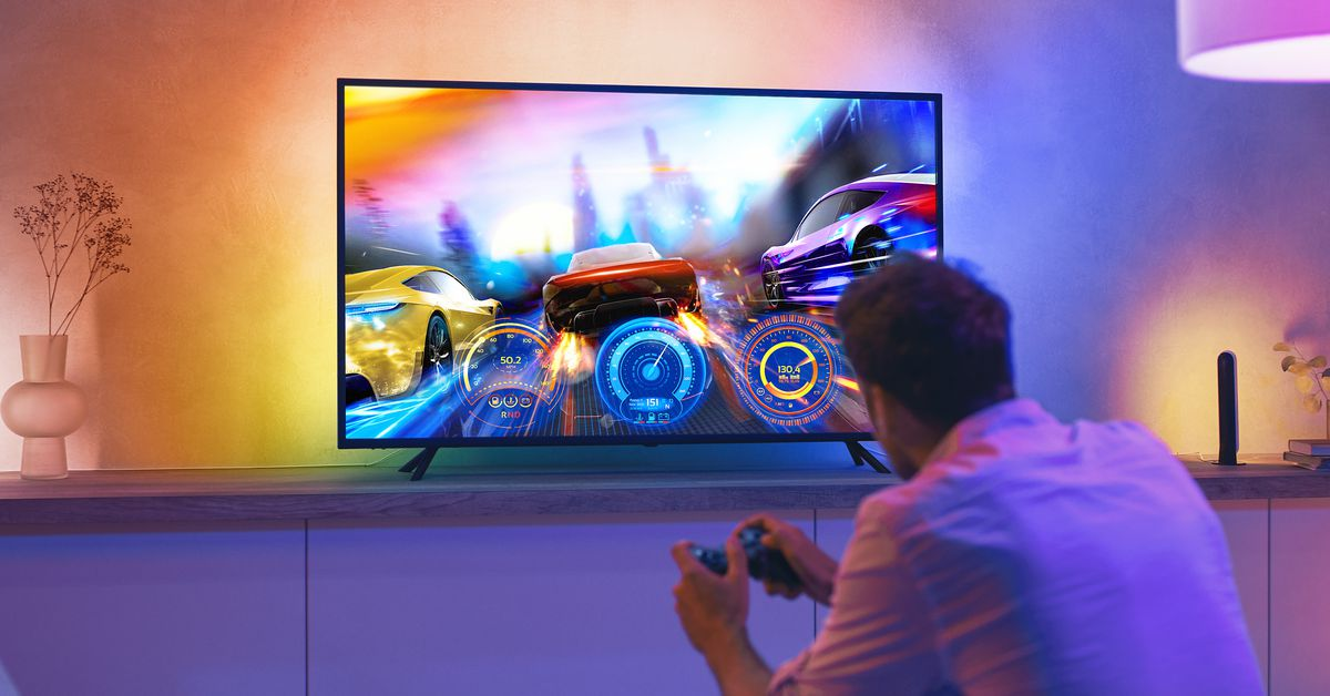 The new Philips Hue light bar installs on the TV and syncs with what's on screen