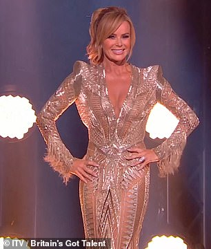 Glamor: Amanda Holden (left) and Alisha Dixon (right) brilliantly arrive on stage for the semifinals
