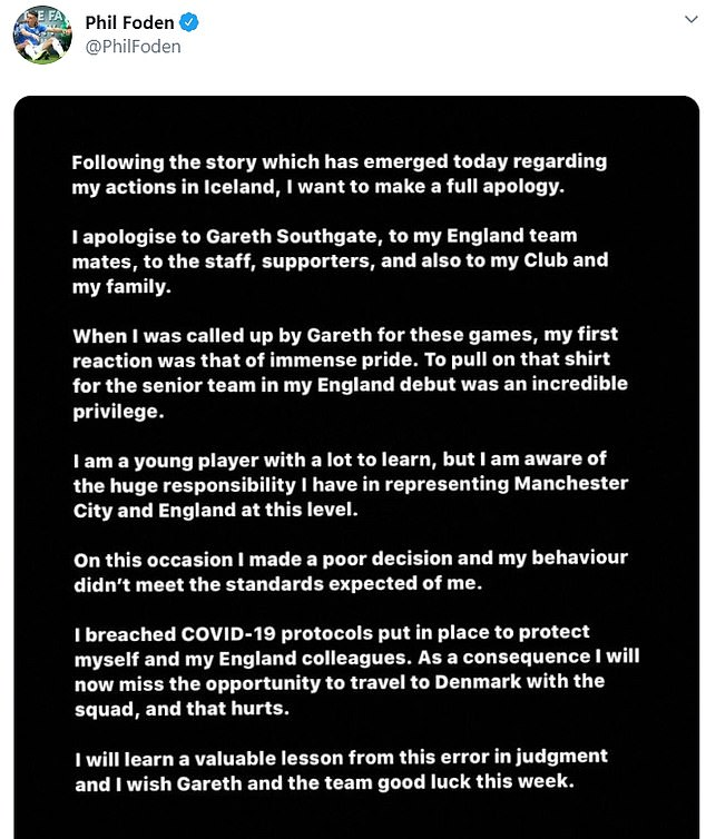 Foden took to social media on Monday evening to issue a full apology to everyone involved