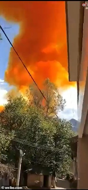 The footage appeared shortly after the failed booster was fired, which instantly exploded into a huge orange cloud after landing in a crash.