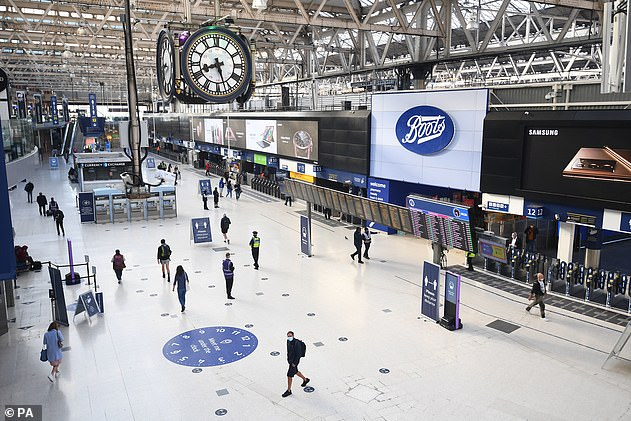 The lobby at London's Waterloo Station - one of the capital's busiest stations - during rush hour, 2 September 2020