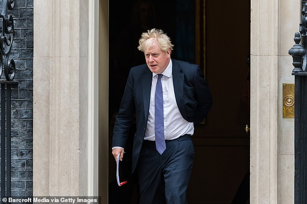 His statements come amid desperate government efforts to persuade the British to return to their offices. Pictured: Boris Johnson on Tuesday