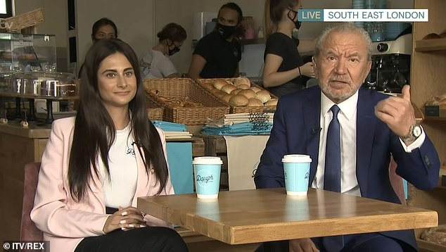 Lord Sugar this morning spoke alongside winning trainee Karina Lepore (pictured together)