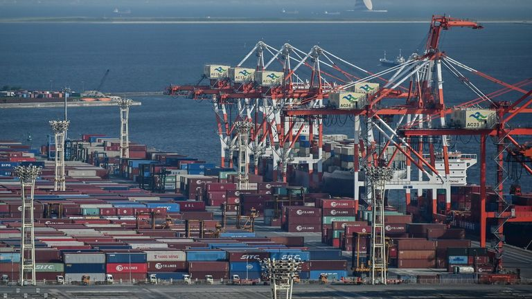 Containers at the international cargo terminal at the Port of Tokyo on August 17, 2020