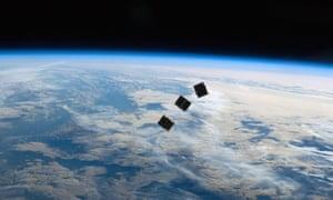 Nanosatellites in space.
