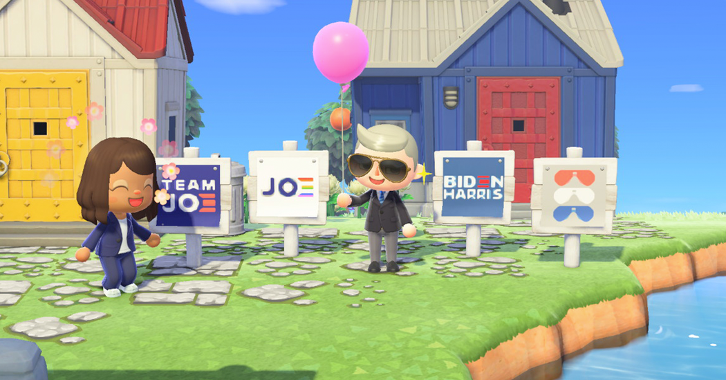 Joe Biden's campaign displays banners for animal crossings
