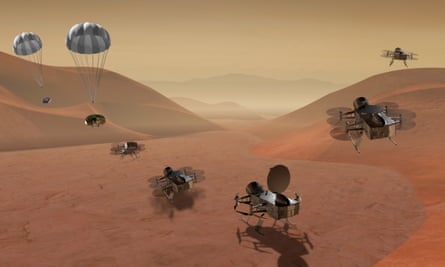 An artist's rendition shows multiple views of the twin Dragonfly drone that will explore Saturn's moon Titan.