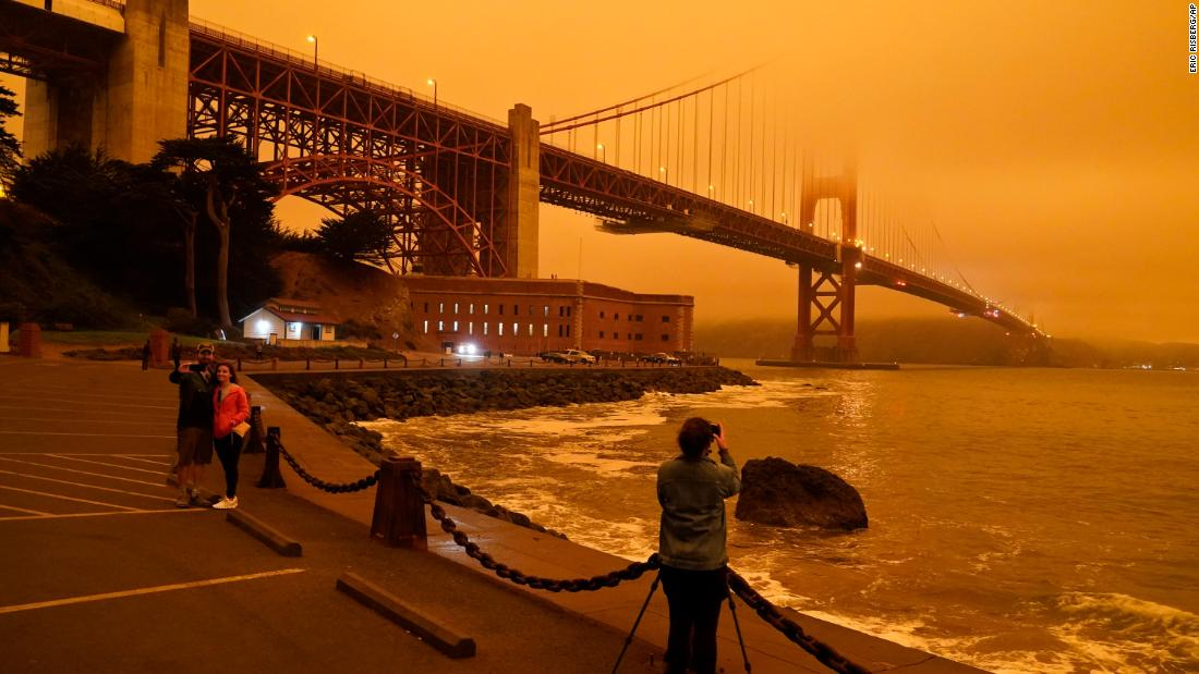 The images show that the California sky has turned orange during the wildfires