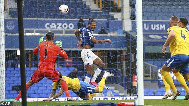Dominic Calvert-Lewin scored his sixth league goal of the season after having a cross header