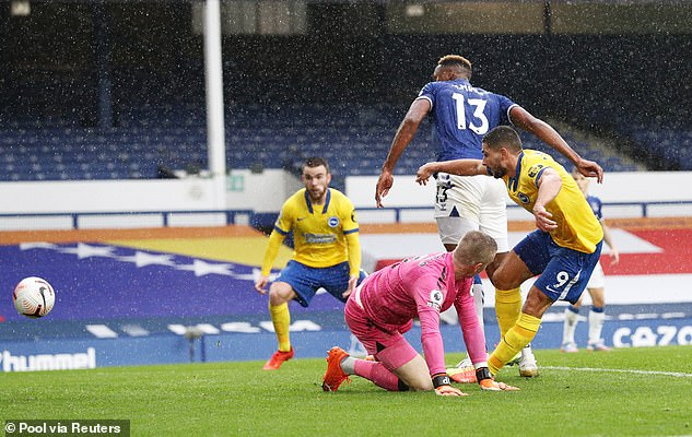 The Everton goalkeeper threw a simple cross at the feet of Neil Mobay - who bounced back into the net