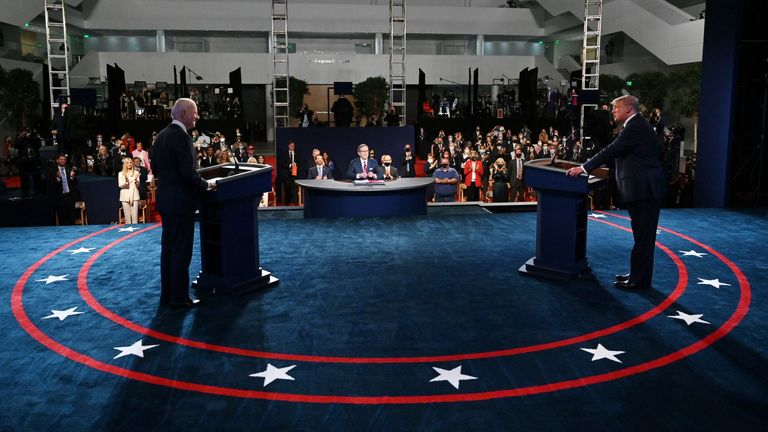 US President Donald Trump (right) and Democratic presidential candidate Joe Biden arrive for their first presidential debate at Case Western Reserve University and the Cleveland Clinic in Cleveland, Ohio, on September 29, 2020 (Photo by Olivier DOULIERY / AFP) POOL / AFP) by OLIVIER DOULIERY / POOL / AFP via Getty Images)