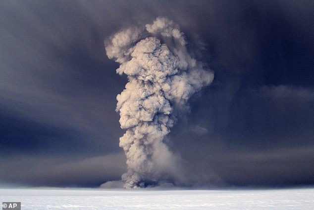 Plumes of smoke from Grimsvoten volcano, which is located under the Vatnajökull glacier, about 120 miles (200 km) east of the capital, Reykjavik, which erupted in 2011