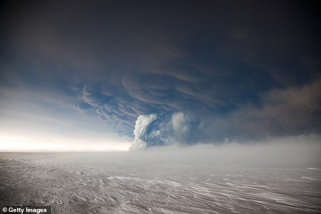 It last erupted on Grímsvötn in 2011 (pictured) and released an ash cloud 12 miles (20 km) into the air, causing 900 flights to be canceled.
