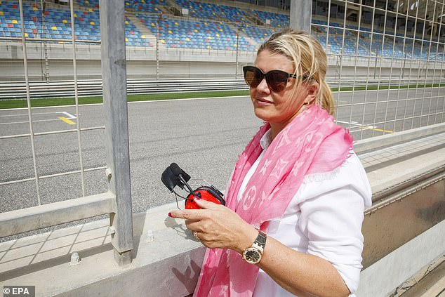 Mick's mother Corina was on the track to watch him participate in his first training session