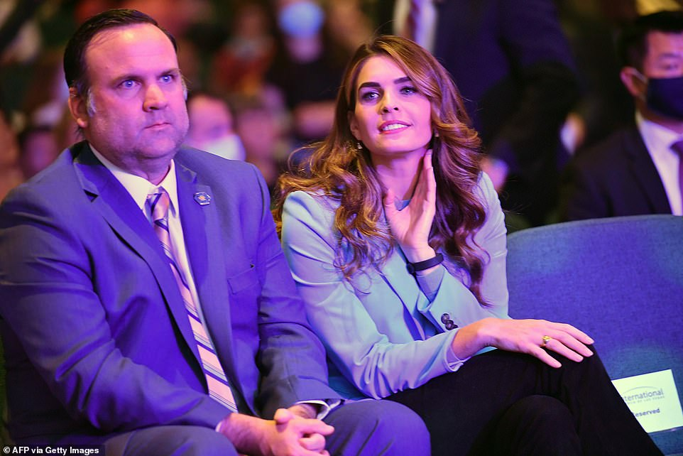 Deputy Chief of Staff for Communications Dan Scavino (left) and Hope Hicks (right), the president's senior advisor, attended Sunday's services with President Donald Trump.