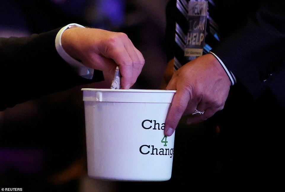 President Donald Trump was arrested placing money in the Las Vegas International Church donation bucket
