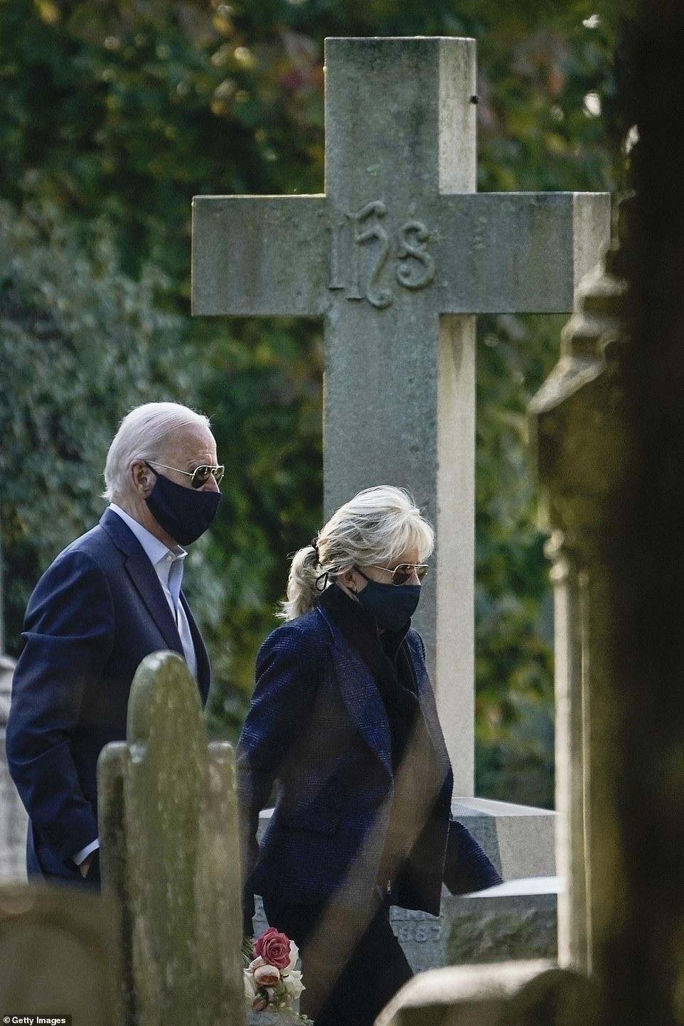 Democratic candidate Joe Biden (left) and wife Jill Biden (right) arrive for Sunday mass at St. Joseph's in Brandywine.